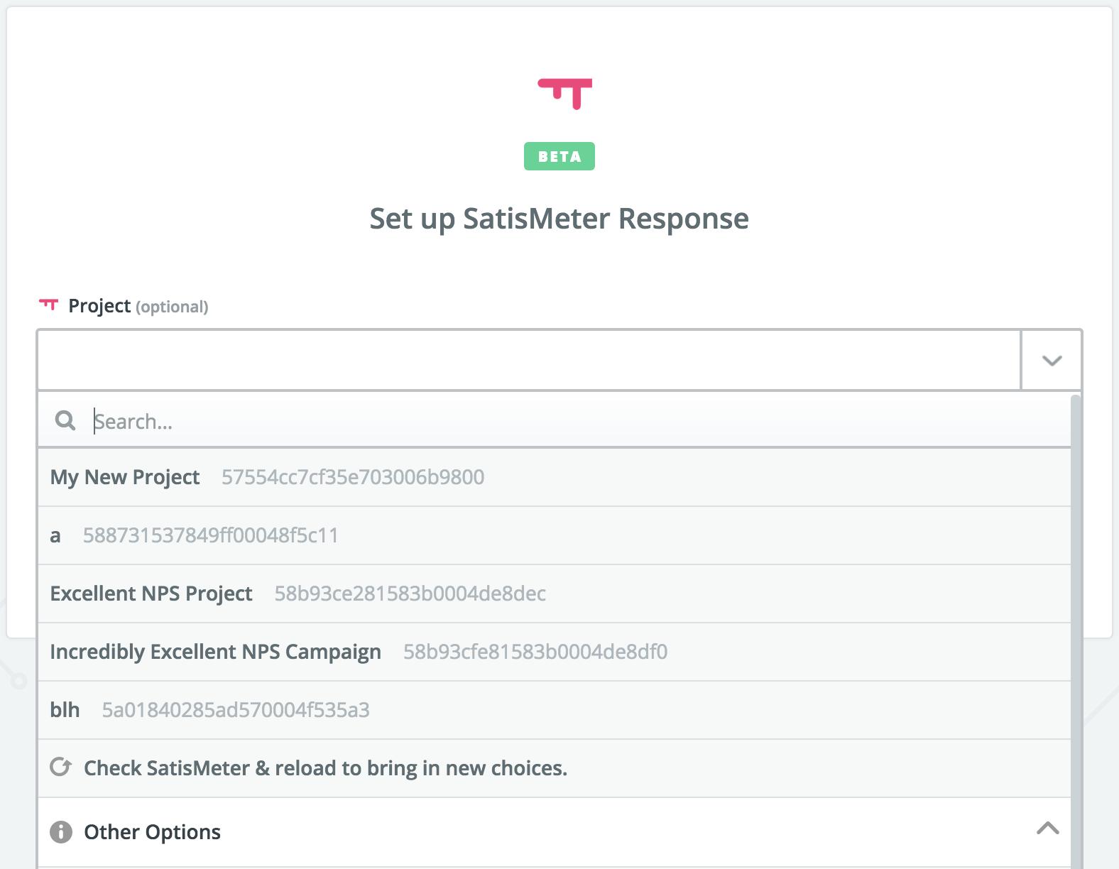 SatisMeter response - Zapier integration
