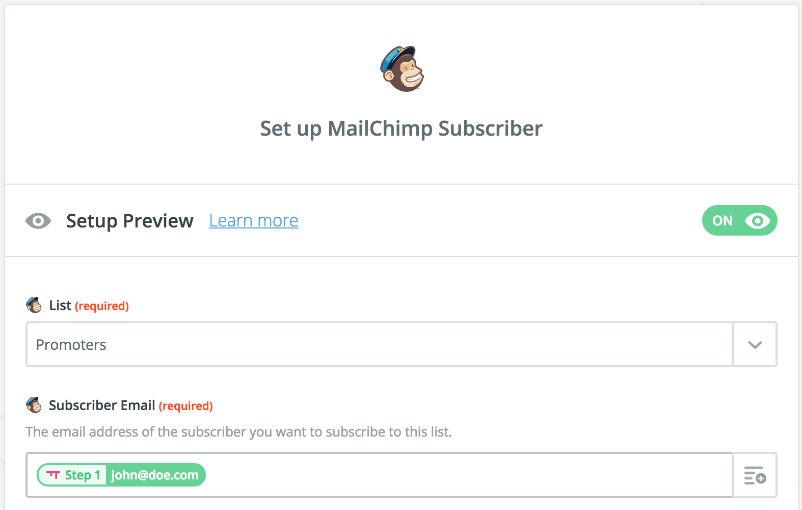SatisMeter - Zapier integration - Mailchimp setup