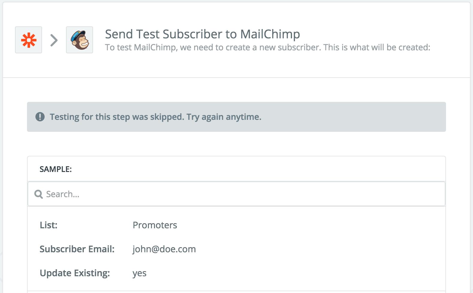 SatisMeter - Zapier integration - Mailchimp subscribers
