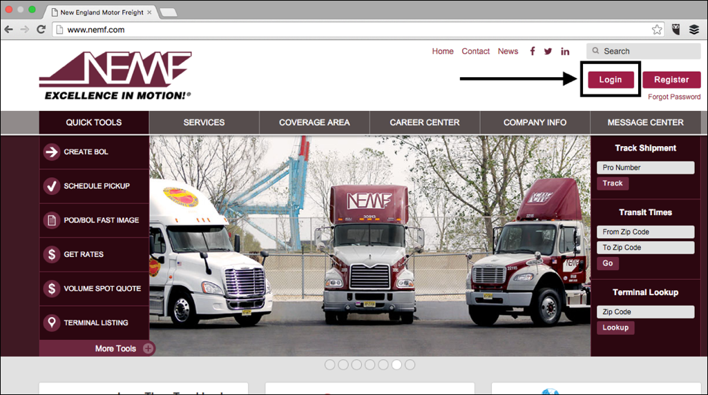 New england motor freight nemf emergetms help center for Motor freight shipping rates