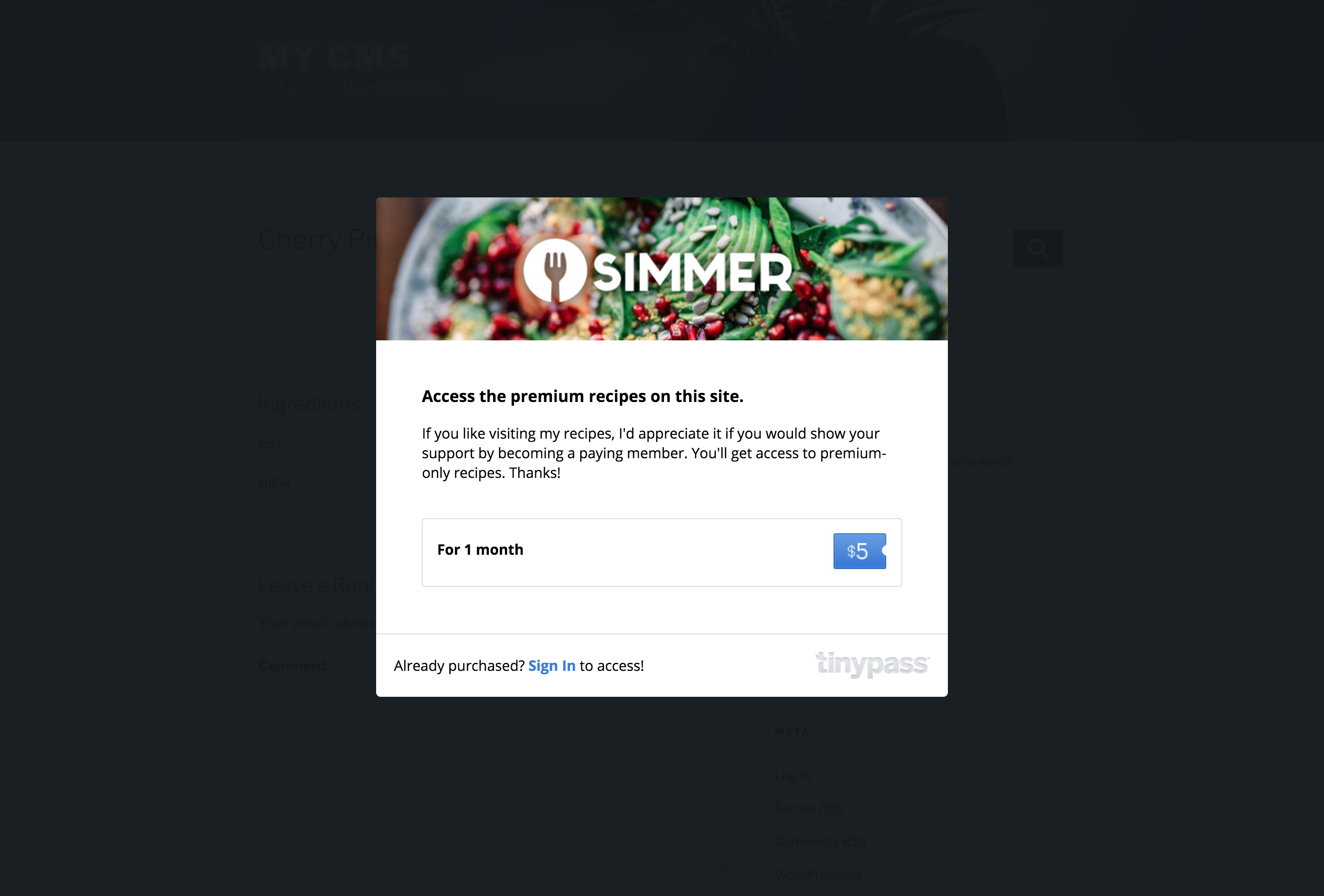 An example Recipe Paywall curtain using the Simmer Pro WordPress recipe plugin.