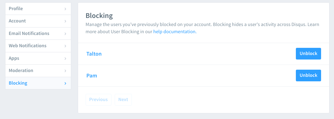 list of users you have previously blocked with blue unblock buttons