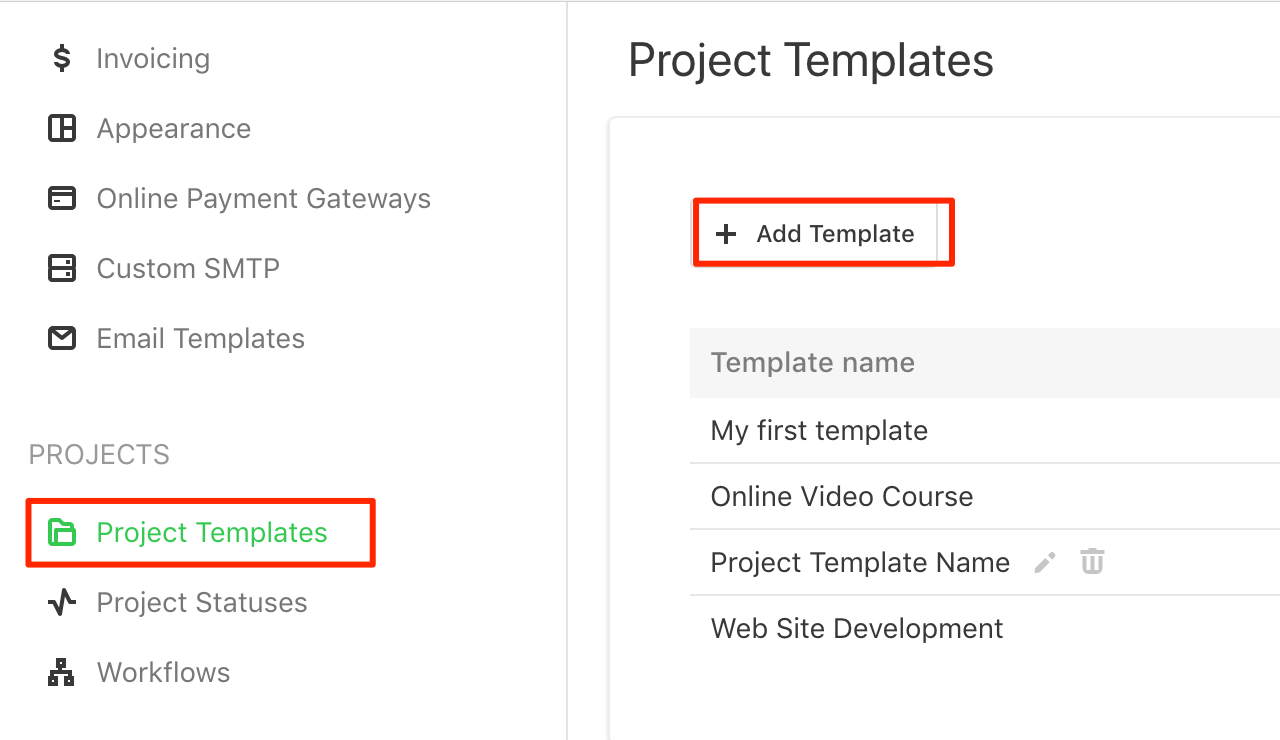 project templates