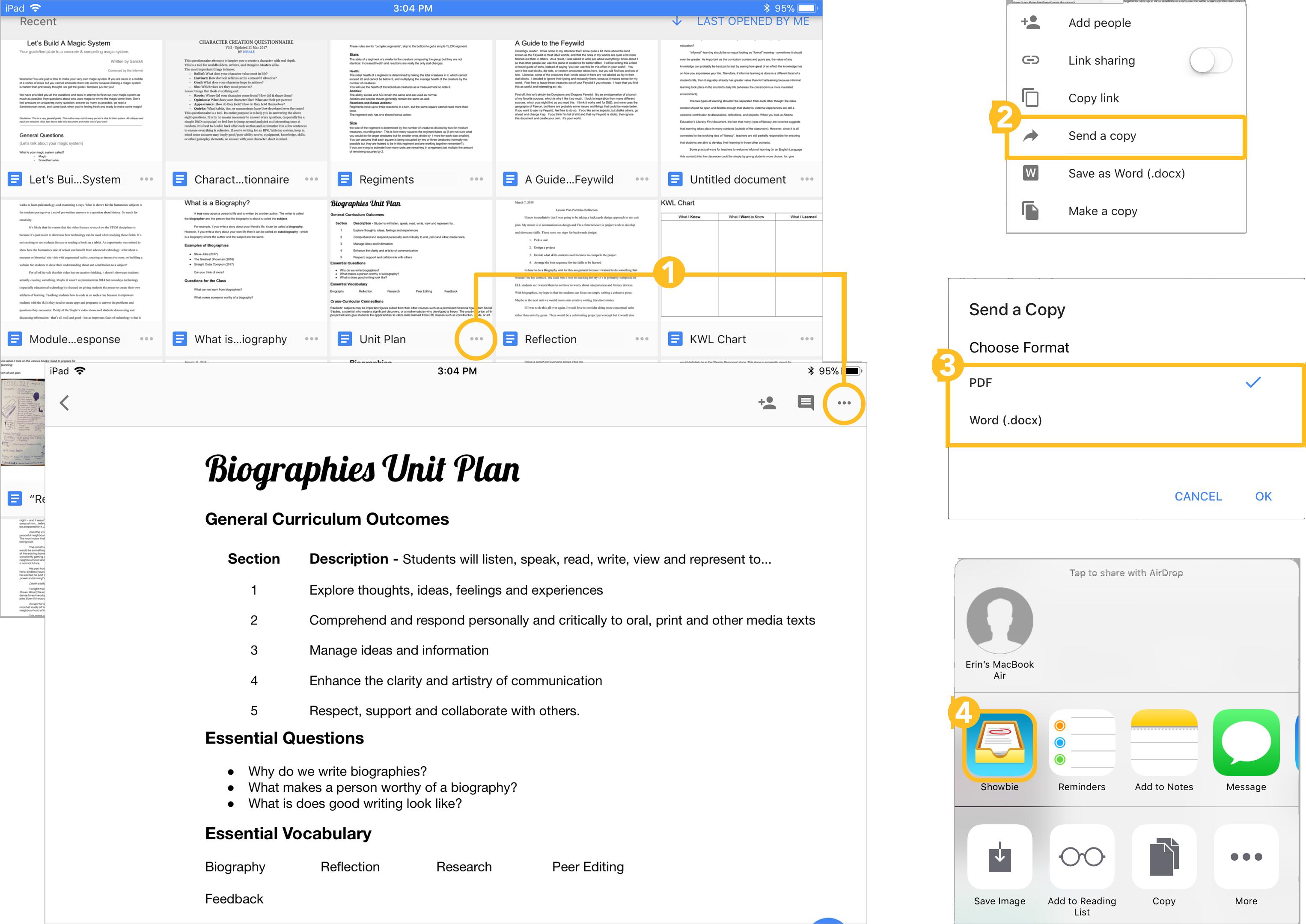Google Docs Showbie Support - Docx to google docs