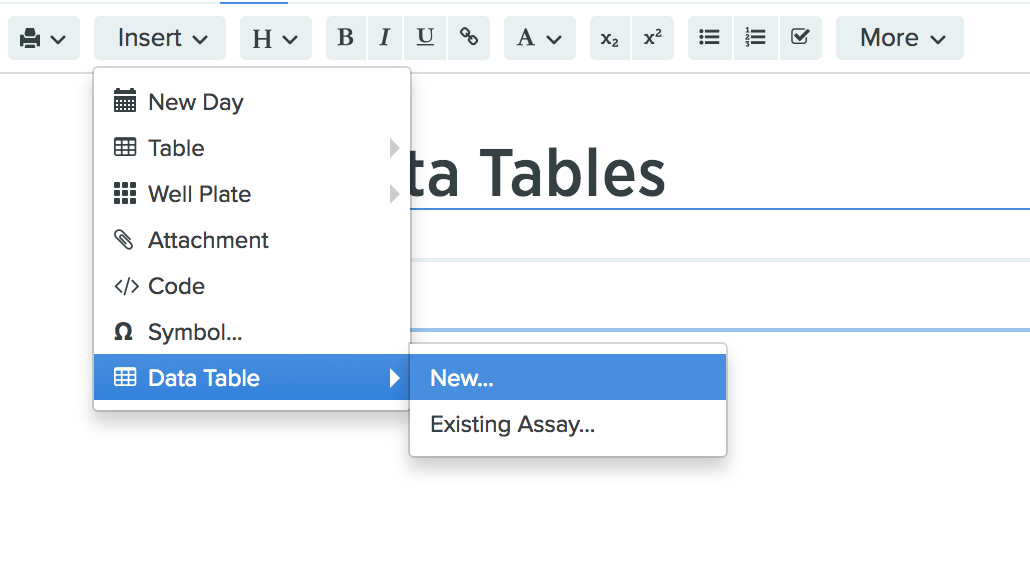 Creating and editing a data table in a notebook or workflow stage if you are creating an entry from an notebook entry template or workflow template appropriate data tables may already be present maxwellsz