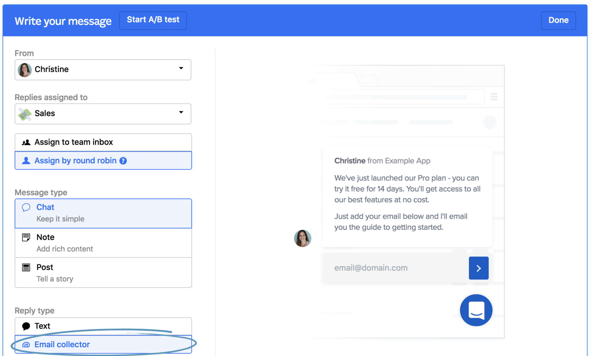 Automatically message visitors on your website intercom help important note the email collector reply type is only available for a chat style message sent in full m4hsunfo