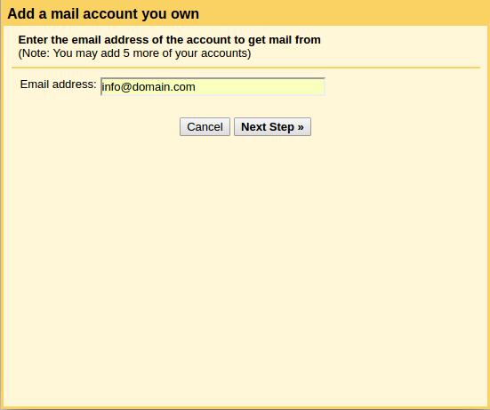 setting domain di gmail