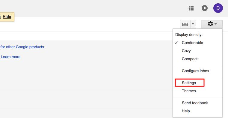 halaman setingan gmail