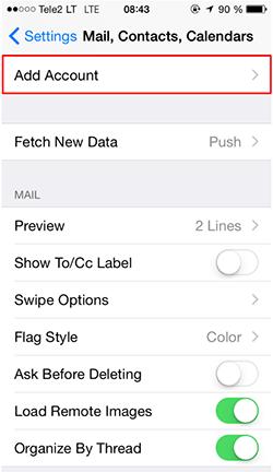 cara setting email di iphone