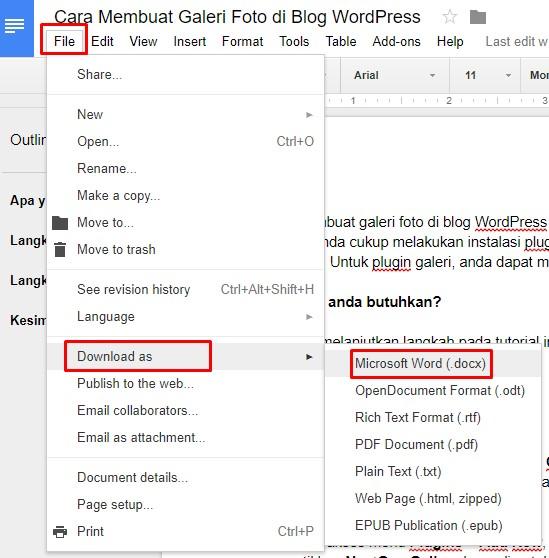 cara import artikel dari google docs