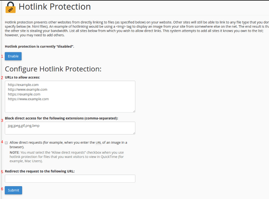 konfigurasi hotlink protection