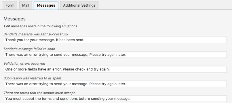 pesan pada contact form
