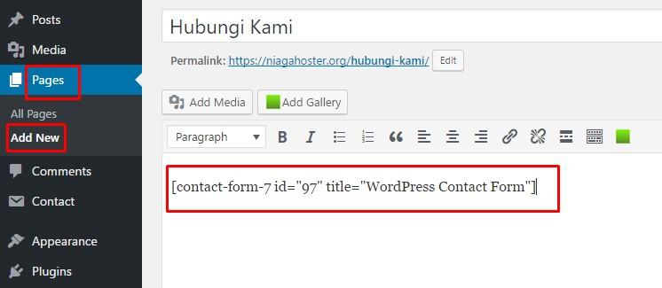 halaman kontak di wordpress