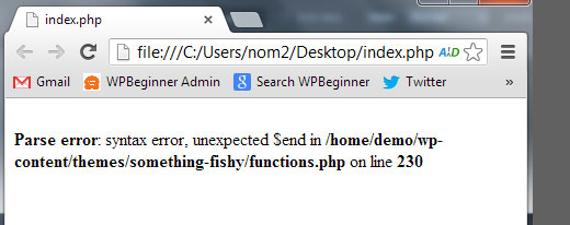 parse syntax error pada wordpress