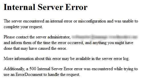 internal server error pada WordPress