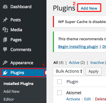 cara instal plugin wordprsess