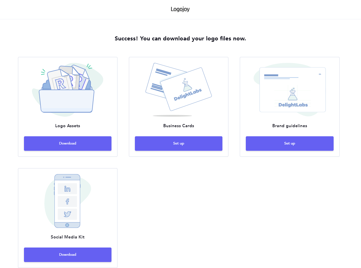 How do i download my business card designs logojoy help center clicking set up under the business cards header will take you back your logo editor where a modal will pop up prompting you to enter your business reheart Choice Image