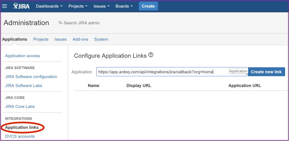 Ardoq Jira application links