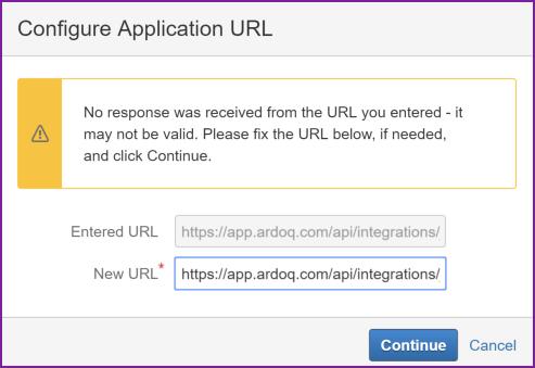 Ardoq Jira configure application URL