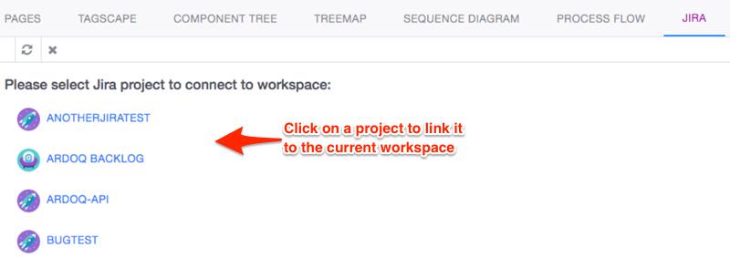 Ardoq link workspace to Jira project