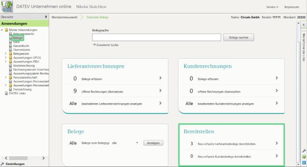 Prepare the exported expenses in DATEV Unternehmen Online