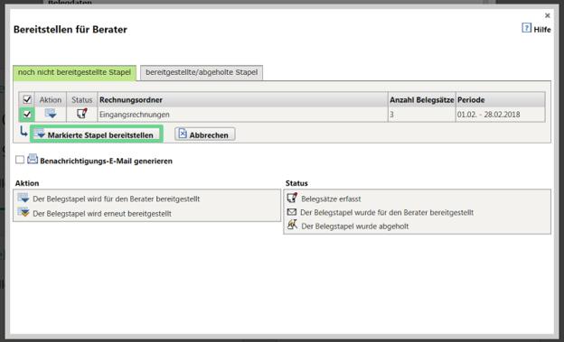 In the next window, select 'Lieferantenbelege Bereitstellen'.