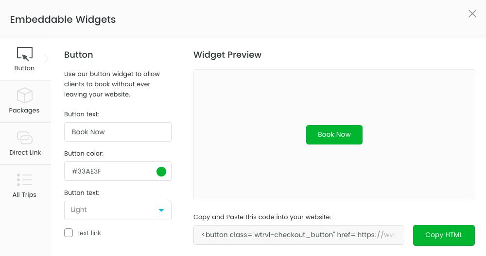 embed WeTravel trip in WordPress site