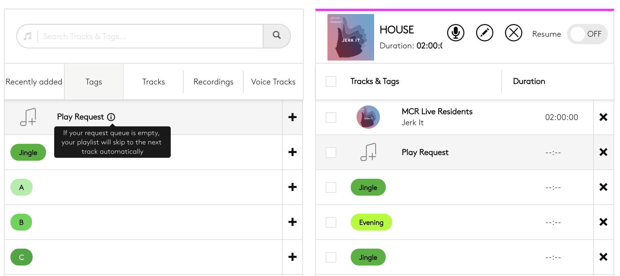 Requests widget tag within playlist editor