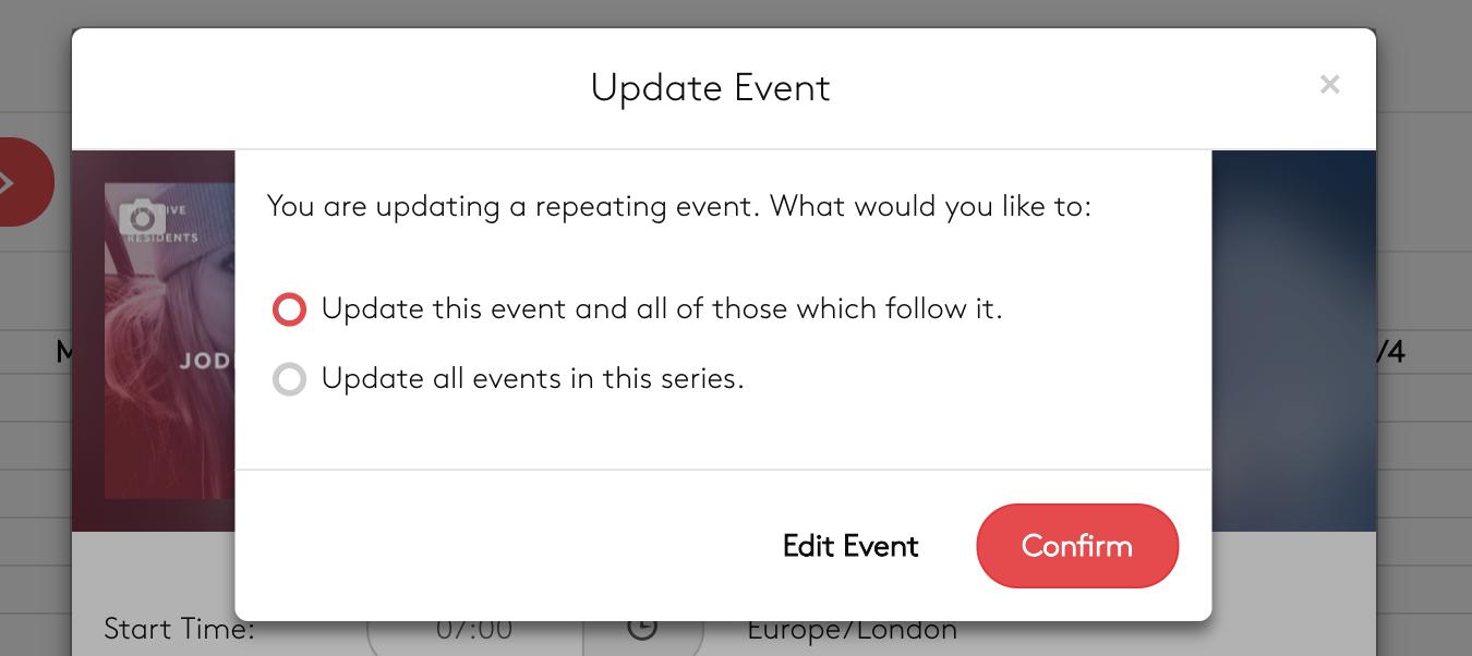 Updating an event.