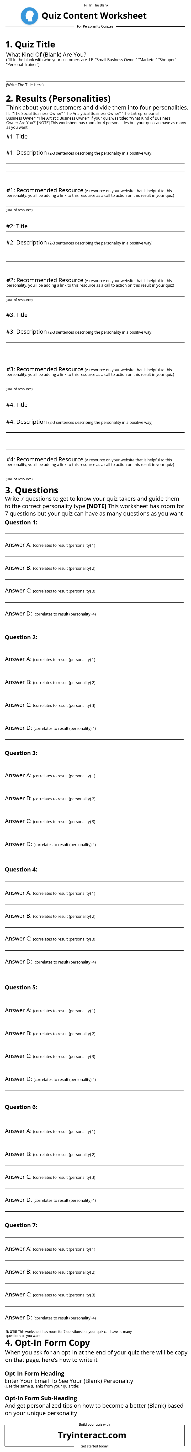 Personality Quiz Content Worksheet Interact Help Center