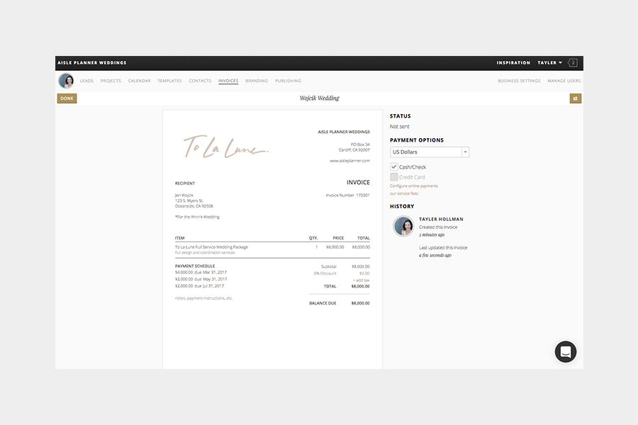 Why Accept Online Payments Through Aisle Planner Aisle Planner - Digital invoice software