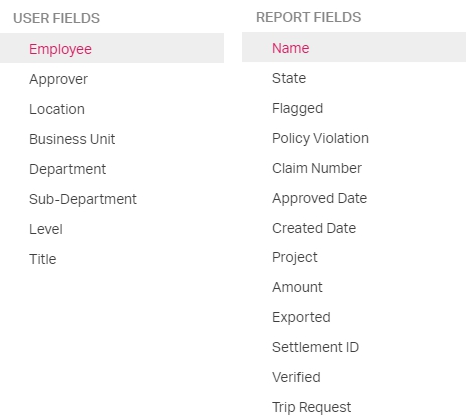 Filters for company reports