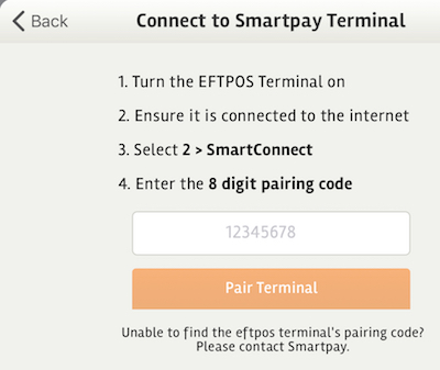 posBoss Eftpos Settings - Smartpay Pair Terminal