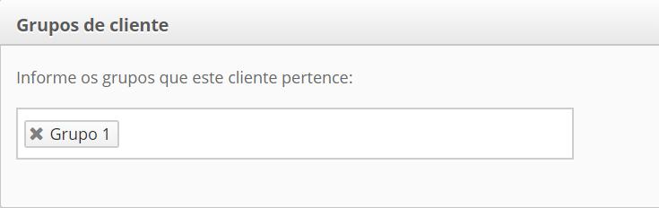 Imagem da guia Grupo de clientes. Um título com o texto: Grupos de clientes, mais abaixo o texto: Informe os grupos que este cliente pertence: uma barra em branco com uma tag grupo 1