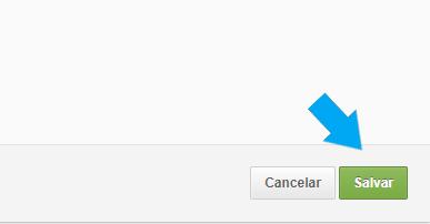 uma imagem com um botão cinza e o texto cancelar ao lado um botão em verde com o texto salvar, uma seta azul apontada para o botão salvar