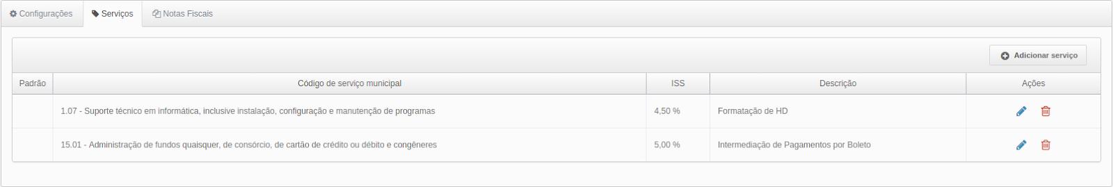 ela com as abas: Configurações - Serviços - Notas fiscais.  A aba serviços está aberta. Abaixo uma tabela: Coluna padrão, com linhas em branco. Coluna: código de serviço municipal, na linha 1: 1.07 - Suporte técnico em informática, inclusive instalação, configuração e manutenção de programas. Na linha 2: 15.01 - Administração de fundos quaisquer, de consórcio, de cartão de crédito ou débito e congêneres. Coluna ISS: Linha 1: 4,50%. Linha 2: 5,00%. Coluna Descrição: linha 1: FOrmatação de HD. Linha 2: Intermediação de Pagamentos por boleto. Coluna Ações: em ambas as linhas ícone de um lápis em azul, e ao lado ícone de uma lixeira em vermelho. Acima das descrições das colunas um botão com um mais e o texto: adicionar serviço.