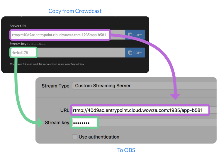 Screenshot of where to copy and paste the server URL and stream keys with OBS.