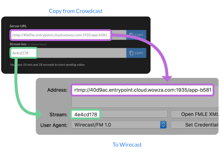 Screenshot of where to copy and paste the server URL and stream keys with Wirecast.