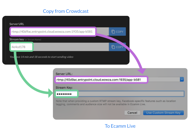 Screenshot of where to copy and paste the server URL and stream keys with Ecamm Live.