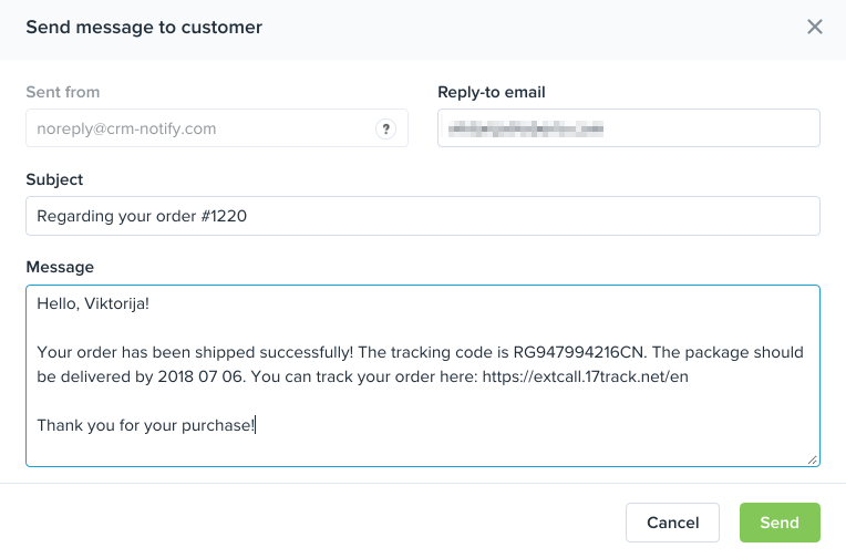 You Can Do This Directly On The Orders Page In Oberlo By Clicking Envelope Icon Next To Order