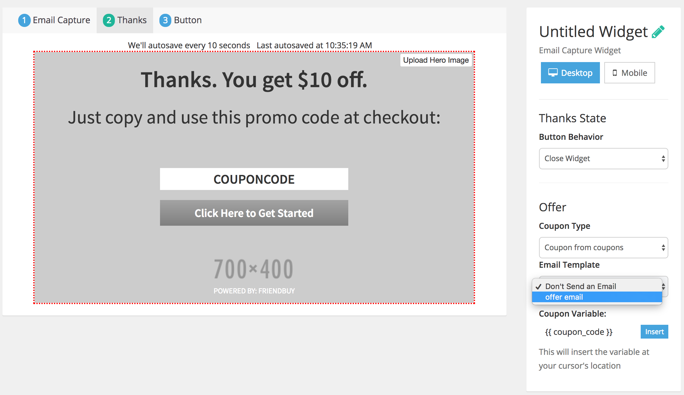 Distribute Friend Coupons + Offer Emails using an Email Capture ...
