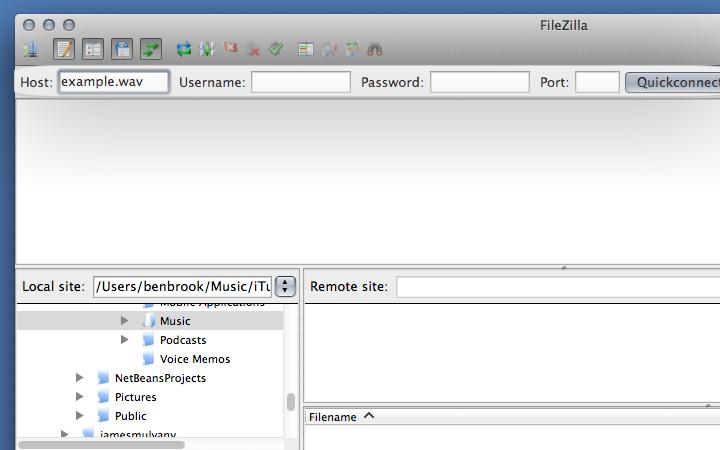 Entering FTP details into FileZilla.