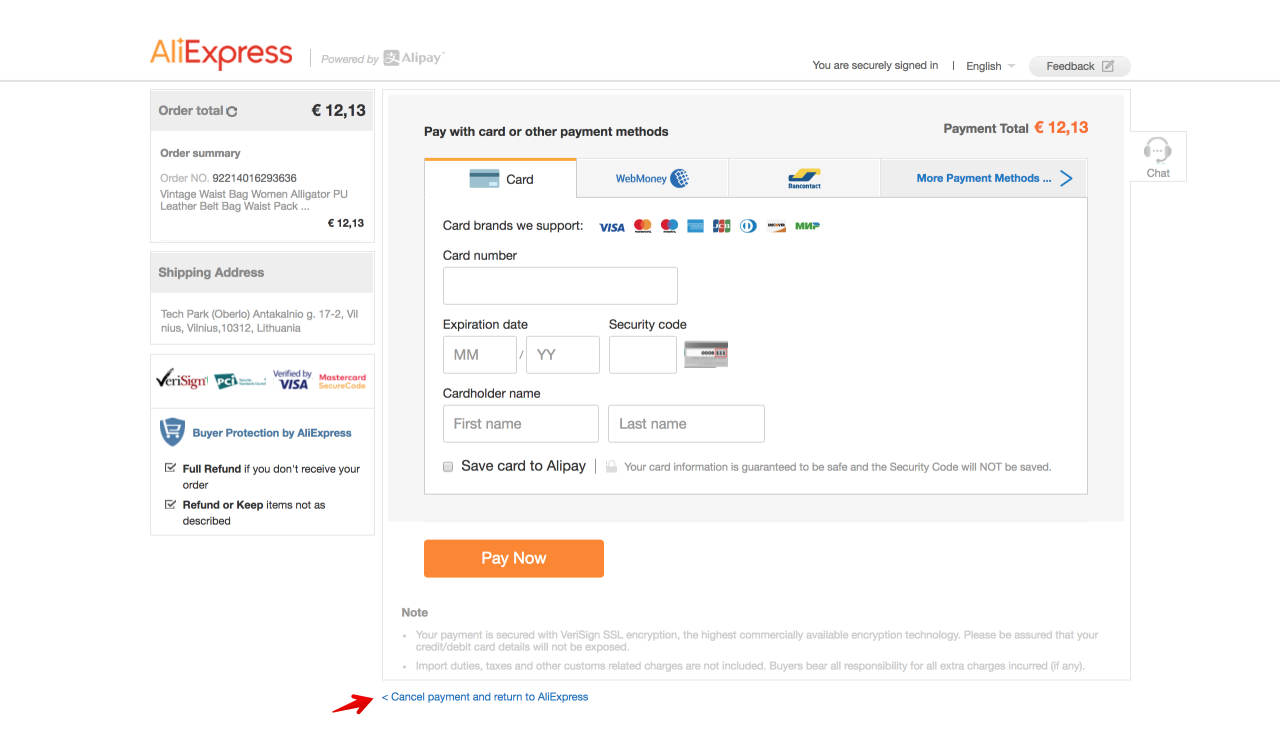 Who uses the site of ALIEXpress this is whose site is China and how much is the parcel going