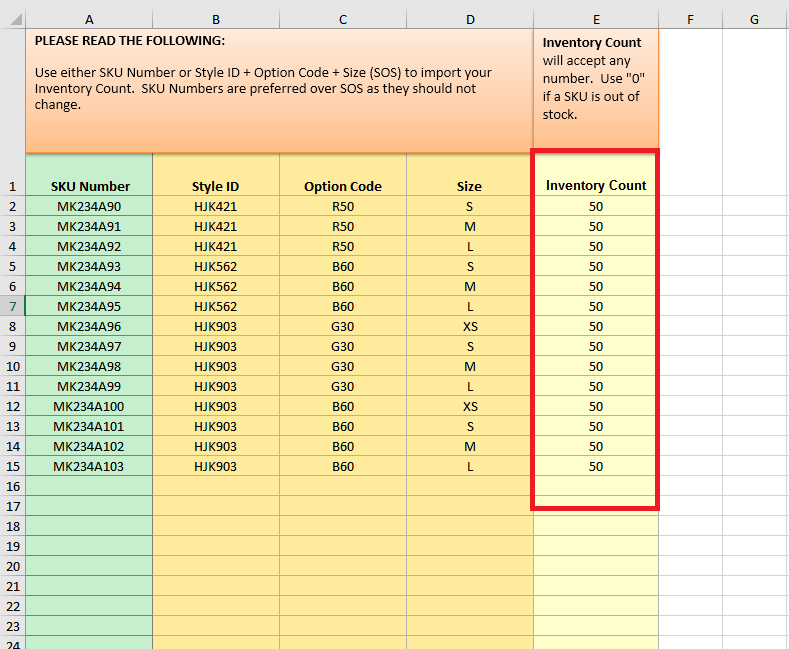 3 open the template and fill out the columns enter the product information and inventory count save your spreadsheet