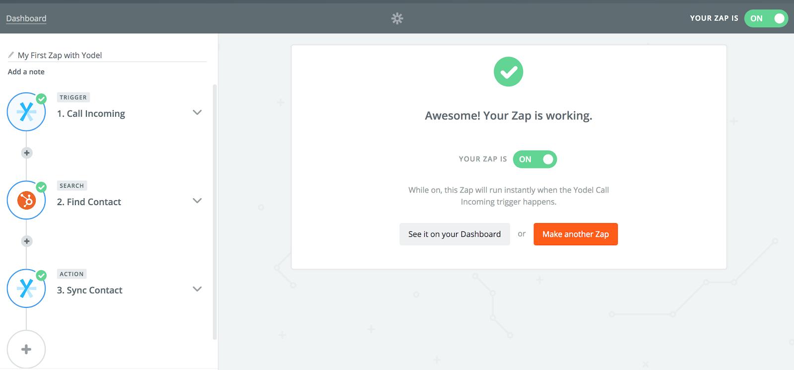 Working Zap Screenshot