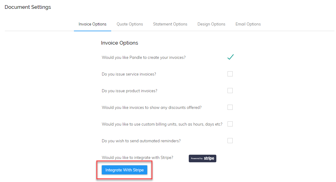 Setting Up Pandle Pay Pandle Help Centre - Send invoice using stripe