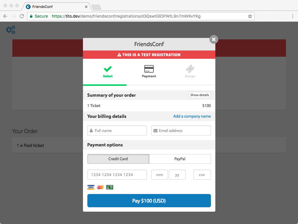 A screenshot of the Tito checkout. Full name, email address, and payment details are required.