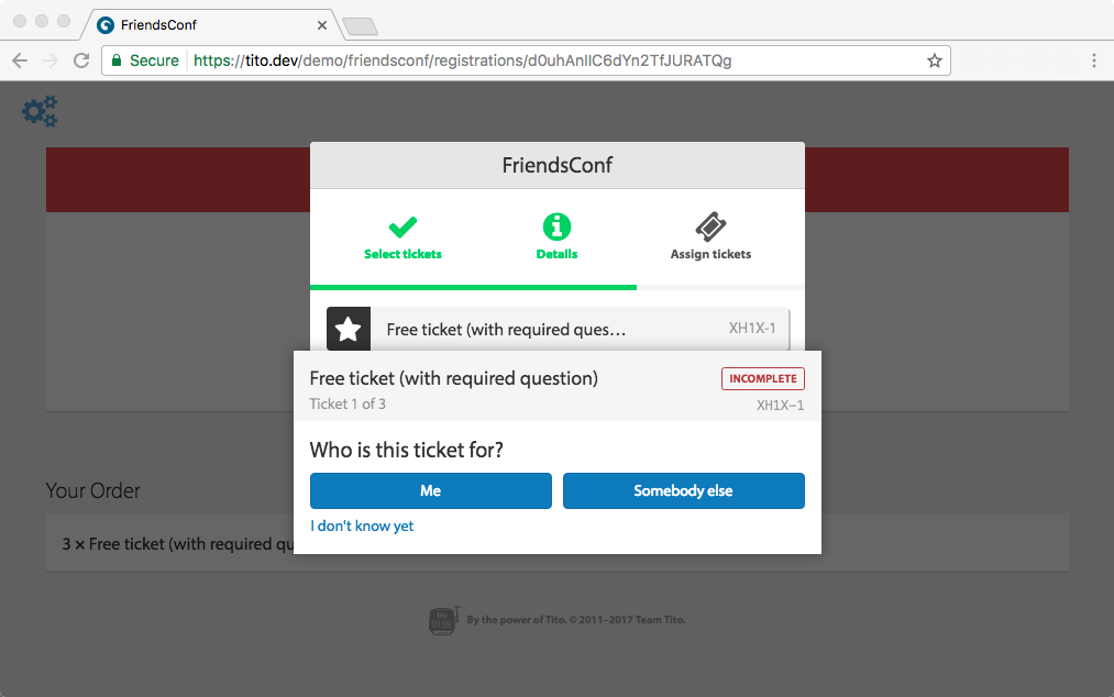 A screenshot of the assigning tickets dialogue from Tito asking if the ticket is for