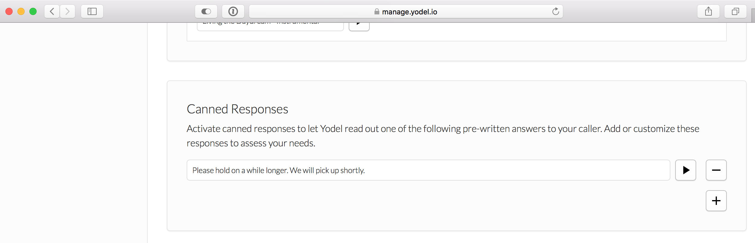 Canned Responses Feature — Yodel