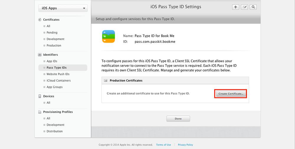 Click create certificate